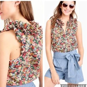 J. Crew Liberty Thorpe Ruffle Floral Blouse